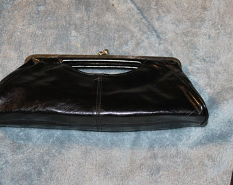 Vintage Evening or Special Occasions Purse, Clutch, Black and Shiny, Nice Handle as a Clutch, Large Clutch, Unique Clasp, Roomy, Great Find