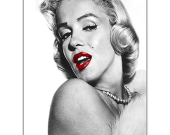 marilyn monroe glamorous red lips on canvas pictures wall art prints home decoration framed poster modern art hollywood legend ready to hang