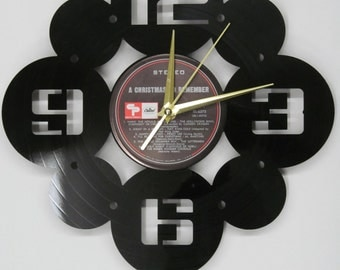Classic retro/deco recycled record clock made from vintage LP's numbers numerals quartz vinyl