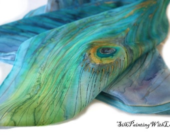 Blue HANDPAINTED silk scarf. square silk scarf. Peacock Scarf. free gift wrap. Birthday gift for mom.  Made to order scarf