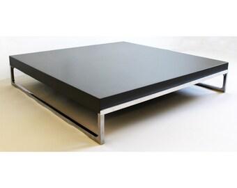 Mid Century Modern Low Grey Chrome Tav Solo Coffee Table B & B Italia Citterio