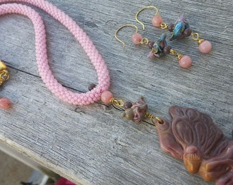 Beautiful OOAK Crochet Carved Fairy Pendant Bead Necklace and earring set - Beaded Crochet rope Style Necklace
