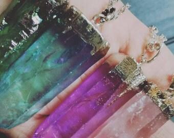 Colored quartz necklace, natural stone and silver plated pendant, boho, green rainbow quartz, silver chain, bohemian necklace