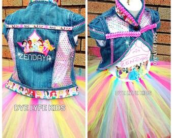DISNEY PRINCESS Cropped Denim Jacket SET, princess, tutu set, denim vest, jacket, birthday, pageant, Disney, party, minnie mouse, polka dot