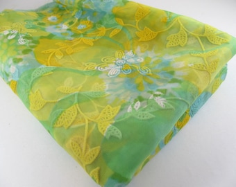 Vintage Flocked Fabric / 1970's Retro Fabric / Yellow Blue Green Sheer Fabric / Sewing Material / Crafting Material / Doll Clothes Fabric