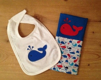 Red and Blue Whale Bib and Burp Cloth Set