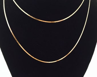 """Vintage 14K Italian Yellow Gold Serpentine Chain 30"""" Necklace - 4.5 Grams"""