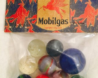 Vintage Mobilgas Pegasus Gasoline Gas Station Complimentary Giveaway Advertising Glass Marbles with Shooter