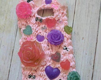 Lovely Pink Rose and Hearts Decoden Case