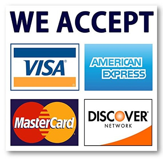 Credit Card Sign Visa Mastercard Amex Discover Sticker