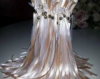 Set of 12 Blush, Lace & Gold Ribbon Wedding Wands - Ribbon Wands - Ribbon Sticks