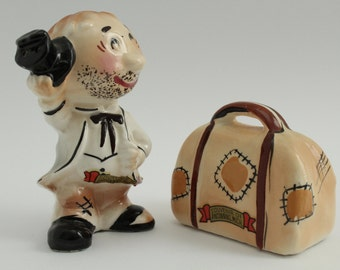Sale 30% Off 50s Enesco Japan Man Suitcase Salt and Pepper Shakers | 50s Traveler Salt & Pepper Shakers | Michigan Salt and Pepper Shakers
