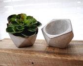 "Medium/Large 5"" Geometric Concrete Planter Cement Planter Succulent Planter Stone Planter Minimalist Concrete Vase Angled Planter"