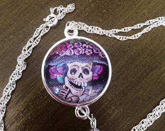 Hand Made Dia De Los Muertos Skeleton Necklace Silver Chain