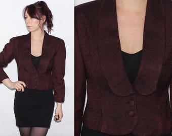 Vintage 1980's Plain Brown Long Sleeves FITTED CROPPED WOOL ? Blend Jacket Size 8