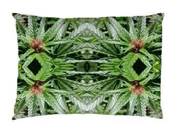 Standard Pillow Case: Ganja Pillow Case in Blue Widow Marijuana Print, Bed Pillow Case, Cannabis Pillow Case- MADE TO ORDER