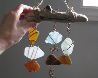 wire wrapped seaglass sun cathcer, copper wire & seaglass window mobile, SeaglassWithATwist