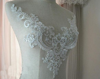 Super Luxury Lace Appliques Ivory Exquisite Lace Applique For Wedding Dress Grown Bridal Veil Bodice
