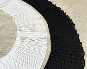 "1 yard Lace Trim Exquisite Ruffled Ivory Black Chiffon Stretch Wedding Trim 6.69"" Super Wide"