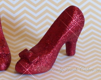Ruby Slippers ~ Edible Chocolate Cake Topper ~ Great for Wizard Of Oz or Dorothy Birthday Party