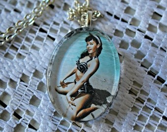 Bettie Page. necklace. Handmade. Silver chain. Glass pendant. Beach. Pin up. Cute photo!