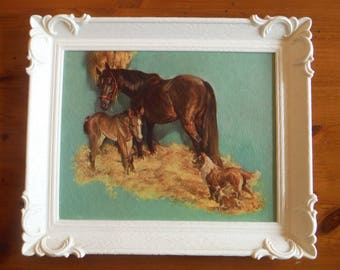 Vintage Kitschy Horses Framed Print - 1950's Brown Pony Dogs Collie Textured Glossy Cardboard Print - '50's Plastic Picture Frame Decor
