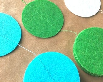Felt Circle Garland bunting banner Party Decor nursery baby mantle bunting green blue white