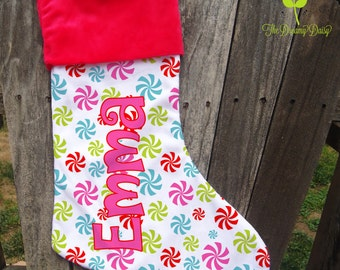 Personalized Christmas Stocking - Kids' Custom Xmas Stocking - Peppermint Candy Stocking for Girls with Name - Monogrammed Xmas Stocking