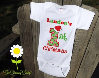 1st Christmas Bodysuit for Boys - Personalized 1st Christmas Outfit - Holiday Bodysuit for Babies - Custom Baby Boy One Piece