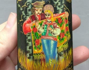Old Vintage Russian Painting Painted Papier Mache Trinket Jewelry Box Russia Art