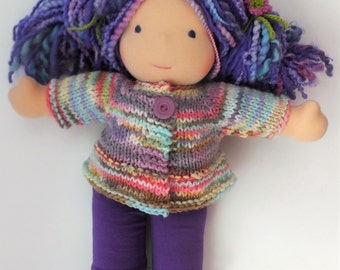 """Waldorf doll clothes, hand knitted doll sweater, waldorf doll sweater, 15"""" to 16"""" doll sweater"""