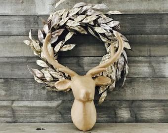 Paper Mache Deer Head - Faux Taxidermy - Deer Decor - Animal Head - Reindeer - Christmas Decorations - Deer Head Wall Mount