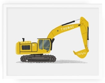 Digger personalised illustrated print - kids room print children's print children's art child's room print digger print nursery print