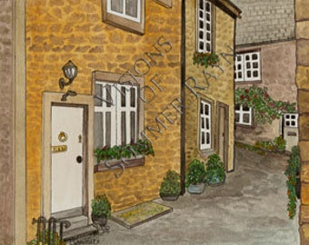 A beautiful cobblestone lane, sweet homes in the city, Card or Print, Drawing with Watercolor accents, Item #0070a