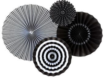 Black Party Fans -Paper Rosettes -Paper Medallions -Black Party Decor -Pinwheel Backdrop  -Wedding -Wall Covering -Paper fan backdrop PLCP06