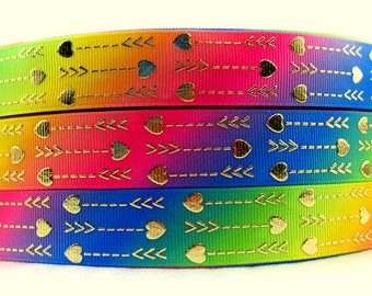 """7/8"""" RAINBOW OMBRE FOIL arrows grosgrain ribbon. Available in 3, 5, 10 or 25 yards Foil arrows, gold, Incredibly beautiful!"""