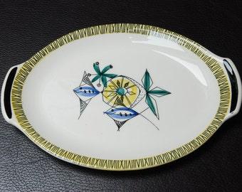 ON SALE - Vintage Norwegian Stavangerflint 'Bambus' Flamingo oval serving plate/platter - Inger Waage.