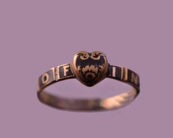 Victorian Memorium Heart Ring With Black Enamel (220b)