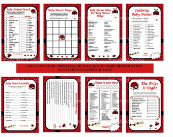 Ladybug Baby Game, Printable Ladybug Game, Ladybug Baby Shower Game Package, Ladybug Black Red Game, Ladybug Bingo - Printables 4 Less 0051