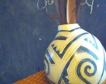 Ancient Art LARGE Vase Native American Inspired Gourd Art: Black/