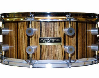 Groovesmith Drums Zebrano and Wenge Stave snare drum 14in x 6in