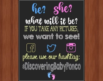 Gender Reveal Party Hashtag Sign - Hashtag Sign - Gender Reveal Party - Share Your Photos - Social Media - Digital File - You Print