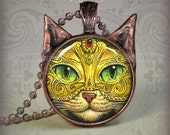 Mardi Gras Cat  pendant // Halloween Cat necklace resin pendant // cat jewelry // Party Cat Mask jewelry // Cat Picture Pendant // KM1