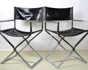Retro Mid Century Modern Black Leather Chrome Director's Chair X Base Seat