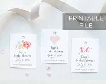 Coral Floral Bridal Shower Favor Tags Printable, downloadable coral watercolor favor tags, personalized favor tags, thank you tags 001