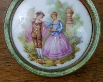 Vintage Limoges Fragonard miniature painting round frame French porcelain portrait