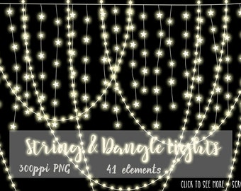 String Lights & Dangles Clip-Art, christmas graphics,  Christmas Lights, Stationery INSTANT DOWNLOAD, CU tree, light strings, hanging lights