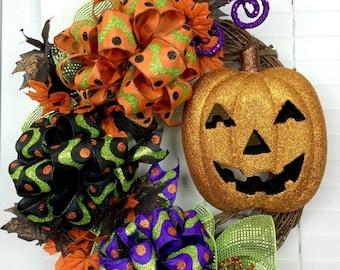 ON SALE Halloween Deco Mesh Wreath - Grapevine Wreath - Pumpkin - Bows  Halloween Decor - Door Decor