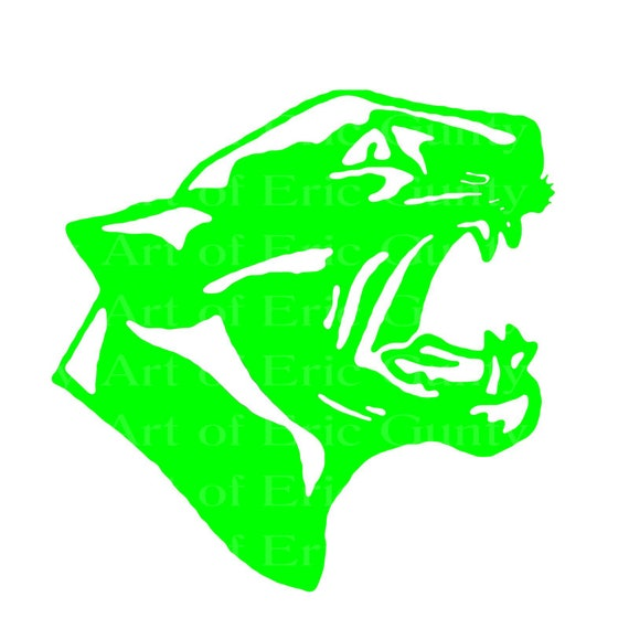Green Panther Cougar Mascot Birthday - Edible Cake and Cupcake Topper For Birthday's and Parties! - D22465