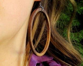 Wood Hoop Earrings, Hoop Earrings, Black Walnut Hoop Earrings
